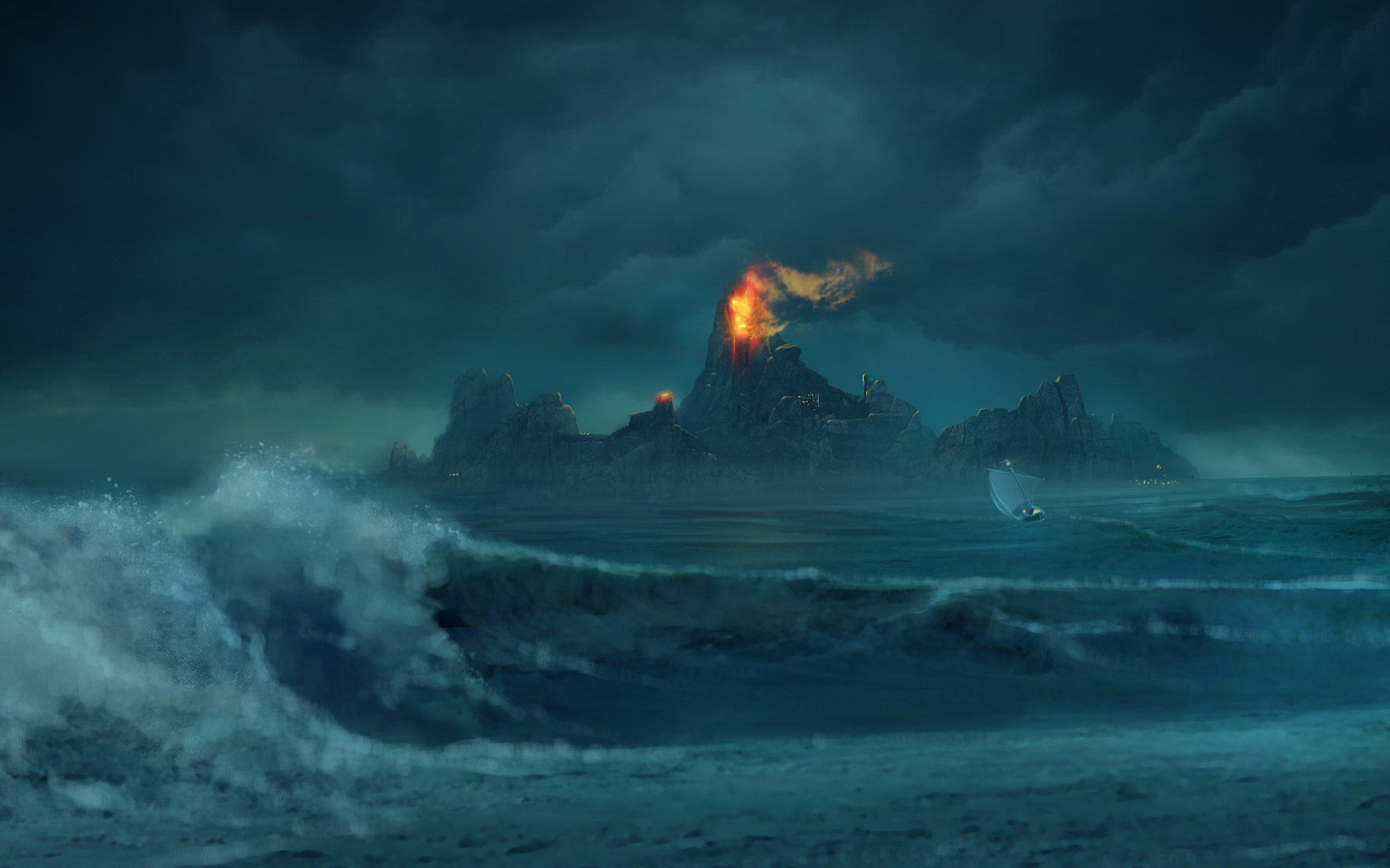 Volcano paper supplier stormy sea photo middle