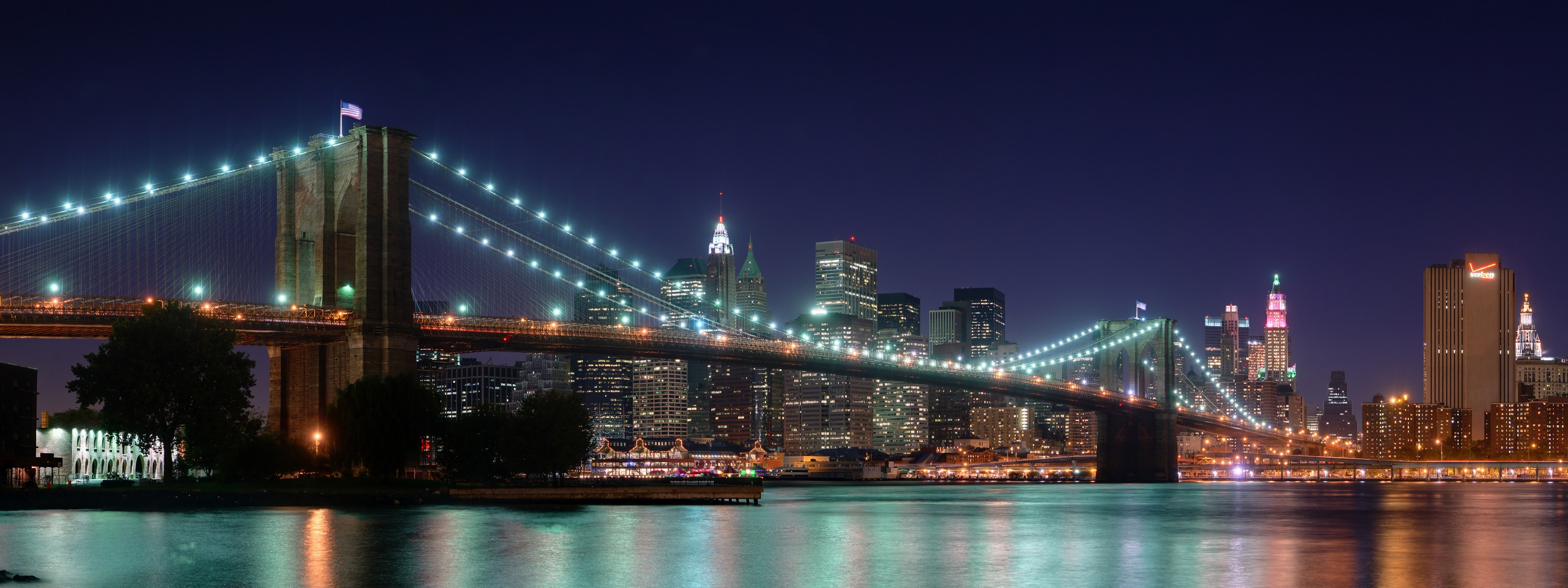 Brooklyn Bridge Panorama At Night