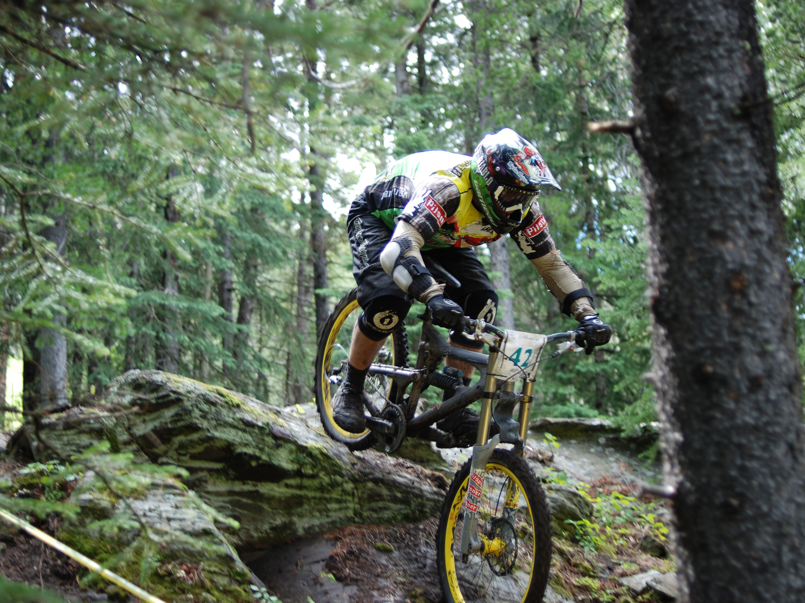mountain bike in downhill race