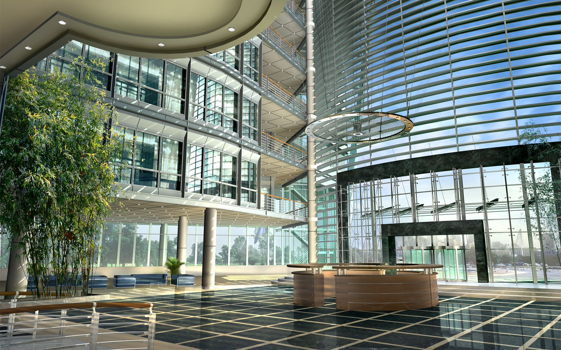 Glass Building Interior : Glass building interior free desktop wallpapers for