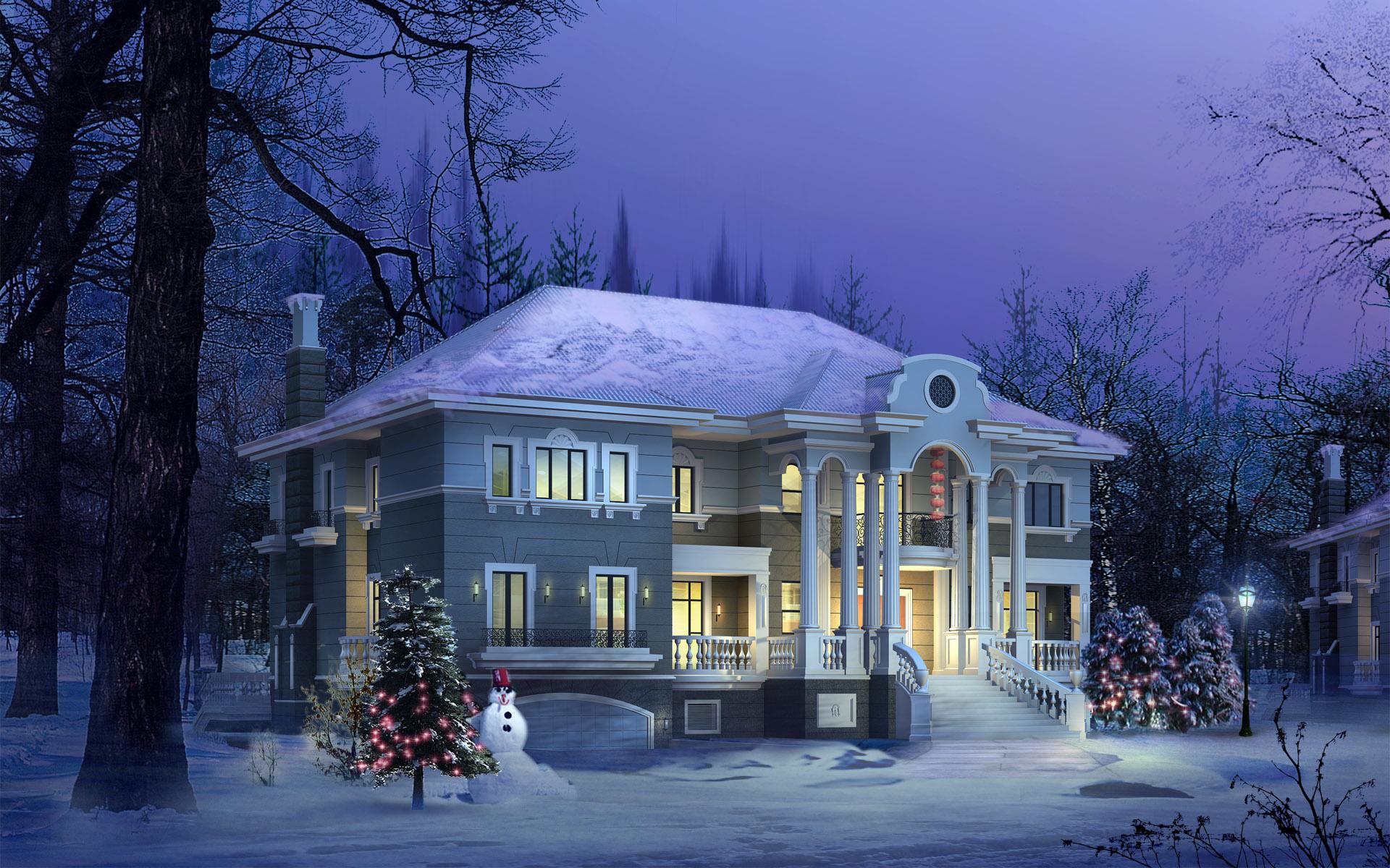 winter house wallpaper photo 1920x1200