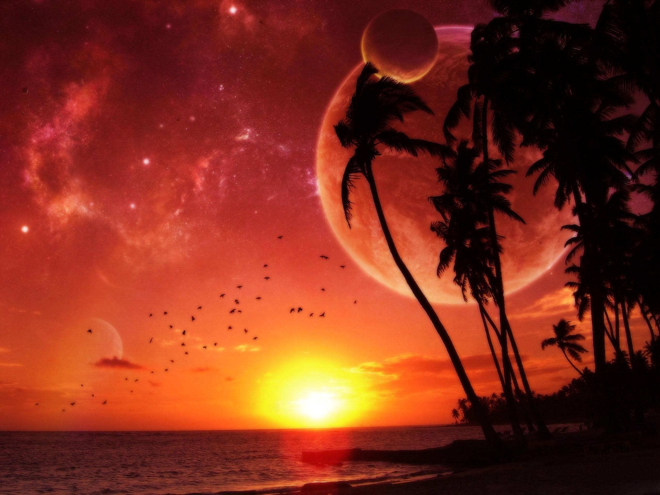 Побережье на фоне других планет без смс