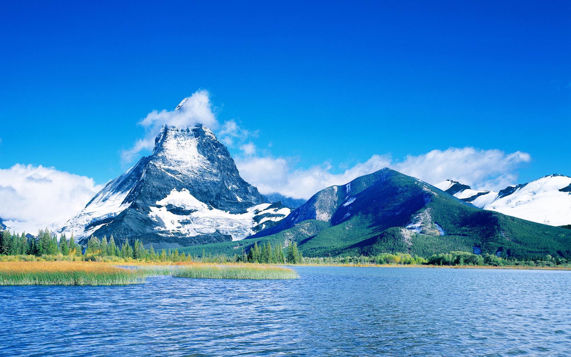 природа горы озеро небо деревья скачать