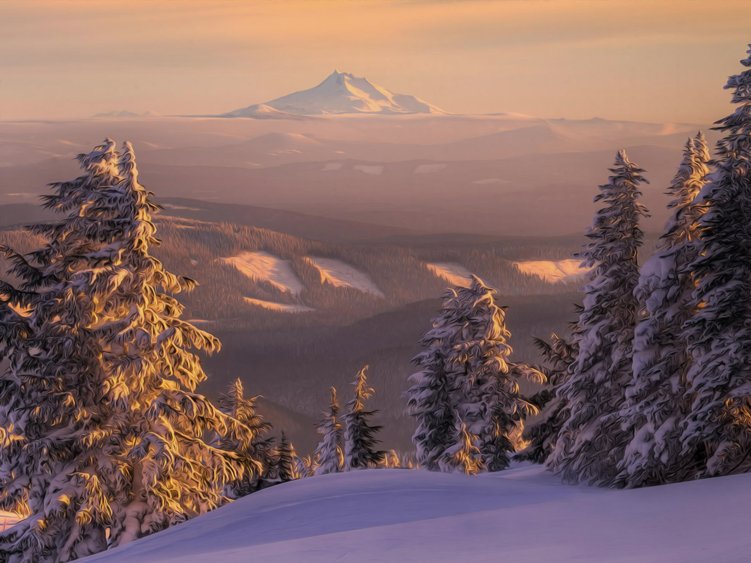 природа снег зима деревья горы  № 2577143  скачать