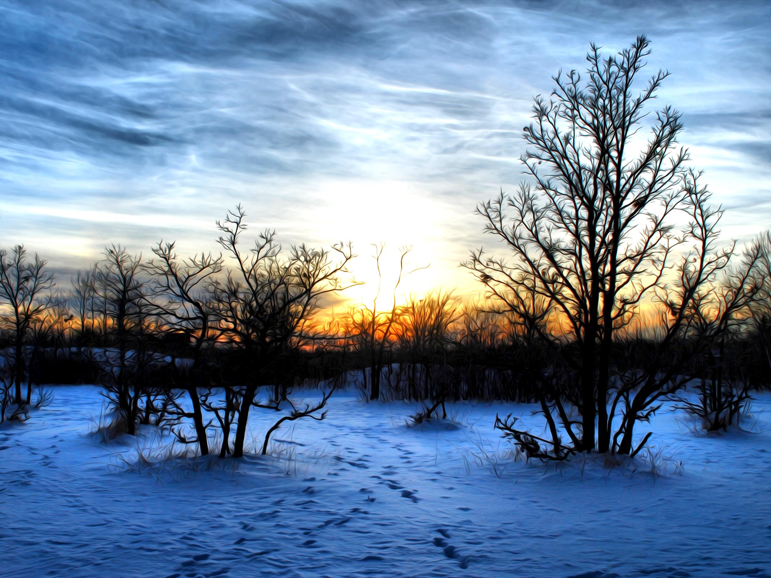 закат над снежной степью  № 831908 загрузить