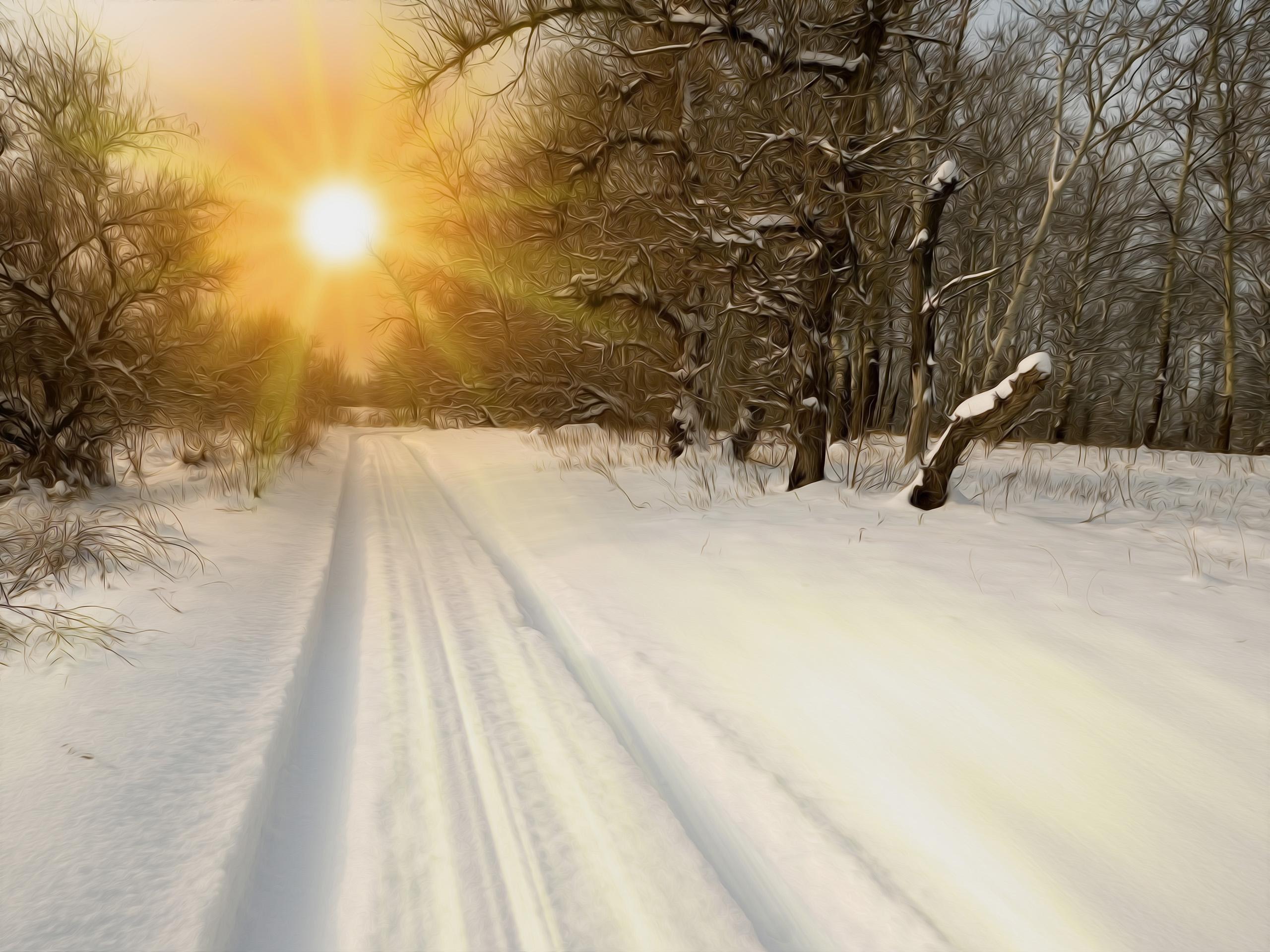 дорога закат зима скачать